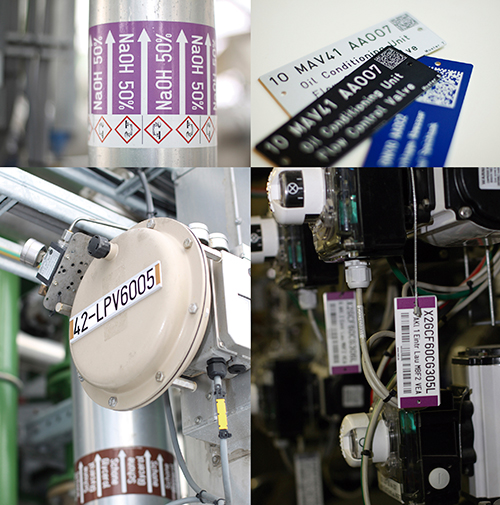 Placas de señalización e identificación Stell- MABECONTA para equipos industriales en plantas de proceso